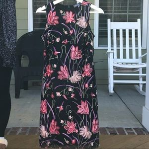 NWT Donna Ricco Black Embroidered Floral Sheath